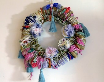 Spring rainbow flower wreath wall hanging door decor floral decoration Mothers day or Easter garden style porch