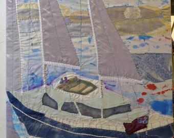 Solent Motorsailors  Hand Sewn Textile Wall Art by Amanda Howse, Wall Hanging, Tapestry Art, Wall Decor