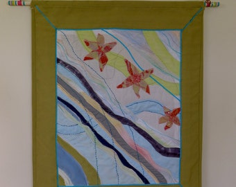 Winter Kiss Textile Wall Hanging Art by Create Display, tapetsry art, wall art, wall decor