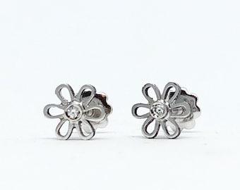 Flower Baby Earrings · Gold and diamonds baby earrings