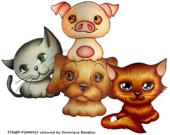 4 cute animals, STAMP-FUNNY07