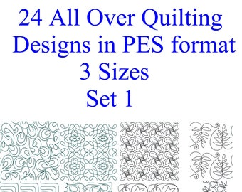 24 All Over Quilting Block Machine Embridery Designs PES format 3 sizes