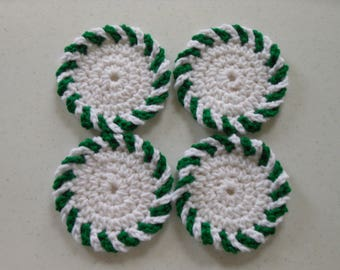 Spearmint Candy Christmas Crochet Coasters Set of Four