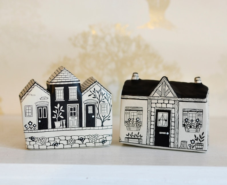 Sweet little handpainted clay cottages by Maisie Parkes Design on Etsy. Come discover Handmade Decor & One of a Kind Finds from Etsy Award Finalists: Hello, Lovely Makers!