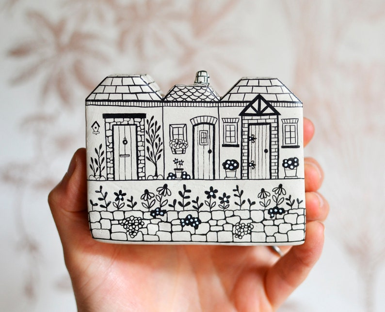 Adorable little handpainted clay houses by Maisie Parkes Design on Etsy. Come discover Handmade Decor & One of a Kind Finds from Etsy Award Finalists: Hello, Lovely Makers!