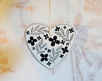 Illustrated Clay Heart Decoration