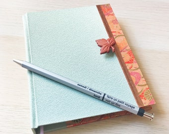 """Journal - Asymmetrical Cover with Fall Colors, Maple Button Closure and Japanese Chiyogami and Silk, 4"""" x 6"""" 100 pages"""