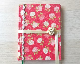 Sketchbook Journal - 4 x 6 Korean Cotton Print Pink and White Peonies with Rosette Trim and Enamel/Gold Button Closure