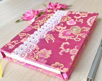"""4"""" x 6"""" Handmade Pocket Journal - Pink Chinese Brocade with Lace Trim and Button Closure"""