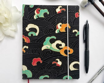 """5"""" x 7""""  Journal - Korean Printed Cotton with Black, White, Mint, Orange, Red, and Gold Ocean Waves Hardcover 100 pages"""