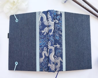 """Journal - Chinese Brocade Blue & Silver Dragons Brocade and Denim Hardcover 4"""" x 6""""  100 pages"""