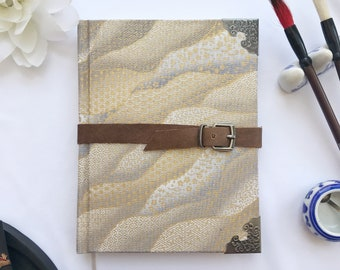 Journal - Korean Printed Cotton Gold & Silver Clouds, Leather Strap and Metal Embellished Corners, Japanese Maple Leaf Inside 4 x 6