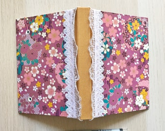 """4"""" x 6"""" Handmade Pocket Journal - Plum Blossoms with Lace Trim and Pen Holder"""