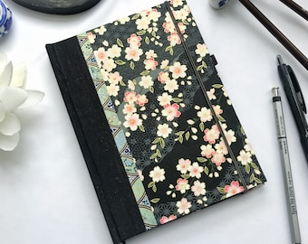 """5"""" x 7"""" Handbound Journal - Sakura Plum Cherry Blossoms with Green Leaves Night Time in the Spring Japanese Paper Hardcover 100 pages"""