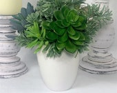 Fake Succulent Arrangement in White Ceramic Pot, Modern Table Decor, Faux Greenery in Pots, Artificial Succulents in Pots