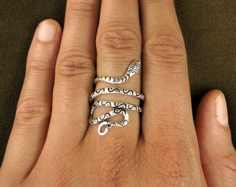 Silver plated ring - Snake