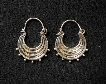 Silver plated - dangle Hoop Earrings