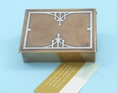 Antique American Arts Crafts Movement Sterling Silver Inlay on Bronze Cigarette Box cum Business Card Holder for Mark Cross, London
