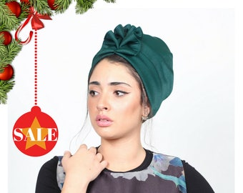 turban headwrap, turban headband, turban women, turban hat, Green turban, full turban, fashion turban, vintage style, retro turban