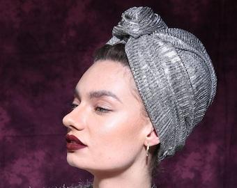 turban, turban hat, women's turban, head turban, turban head wrap, ladies turban, fashion turban, hair turban, turban fashion, silver turban