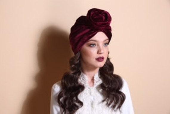 turban hat red turban turban headband red turban flower  324b6cc188a