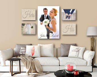 wedding vow photo canvas display set of 5 one 20x30 and four etsy