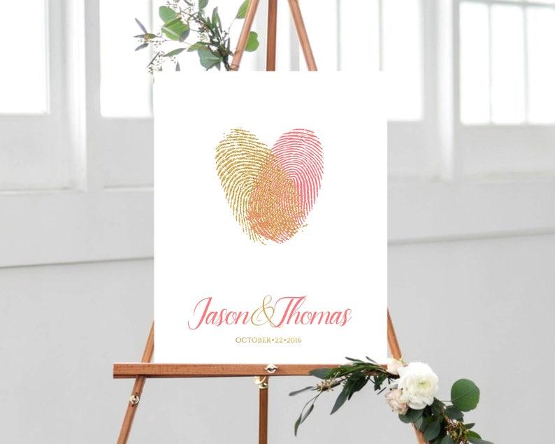 unique guestbook alternative Fun guest book idea Heart Thumbprint guest book Wedding guest book alternative with fingerprint heart