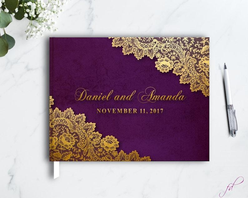 lace wedding Elegant Wedding Guest Book Gold and Purple guest book Gold Wedding Ideas Lace Wedding Guest book Gold Wedding Guest book