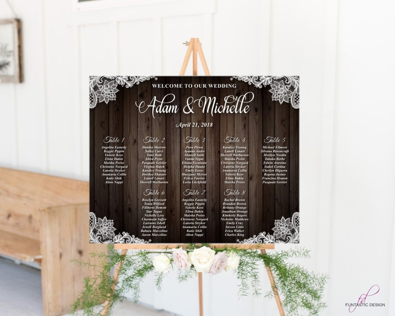 Printed Rustic Wedding Seating Chart Seating Chart Wood Seating Chart Poster Woodsy Wedding Ideas Lace Table Chart Find Your Seat Chart