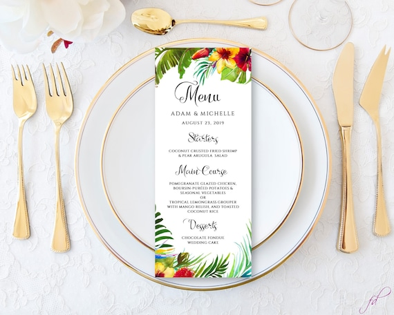 picture about Printable Wedding Menus identify Tropical wedding day menu playing cards published or printable, Wedding day menus Botanical Leaves Marriage ceremony supper menu Place Wedding day island marriage ceremony ides