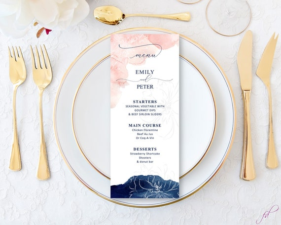 graphic relating to Printable Menu Cards referred to as Innovative Blush Marriage ceremony Reception Menu Playing cards, Released or Printable menus, Blush Army menus, wedding day desk decor, rehearsal evening meal menu playing cards