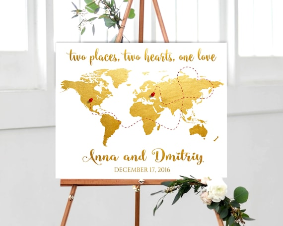 Gold world map wedding guest book alternative world map guest etsy image 0 gumiabroncs Choice Image