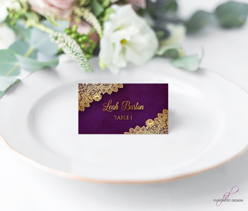 elegant wedding name cards  gold place cards wedding table card name cards Printed wedding place card purple and gold lace escort cards
