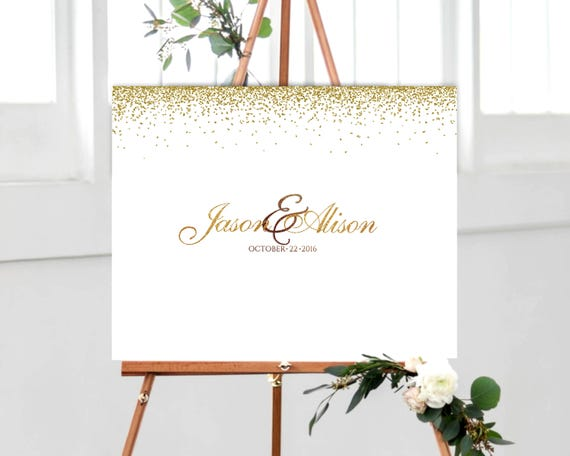 Gold Wedding Guest Book Alternative Canvas Or Poster Elegant Wedding Guest Book Alternative Idea Wedding Signature Idea Signatures On Canvas
