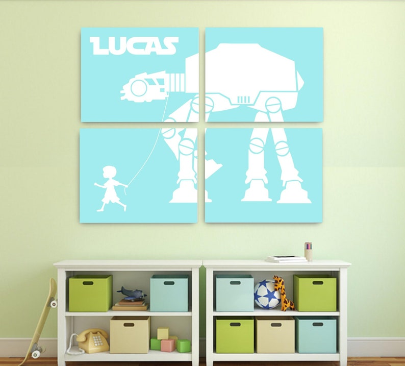 Star Wars Nursery Decor, Star Wars canvas AT-AT Walker Canvas Set of 4,  AT-at walker on the leash,star wars kids room At At with boy or girl