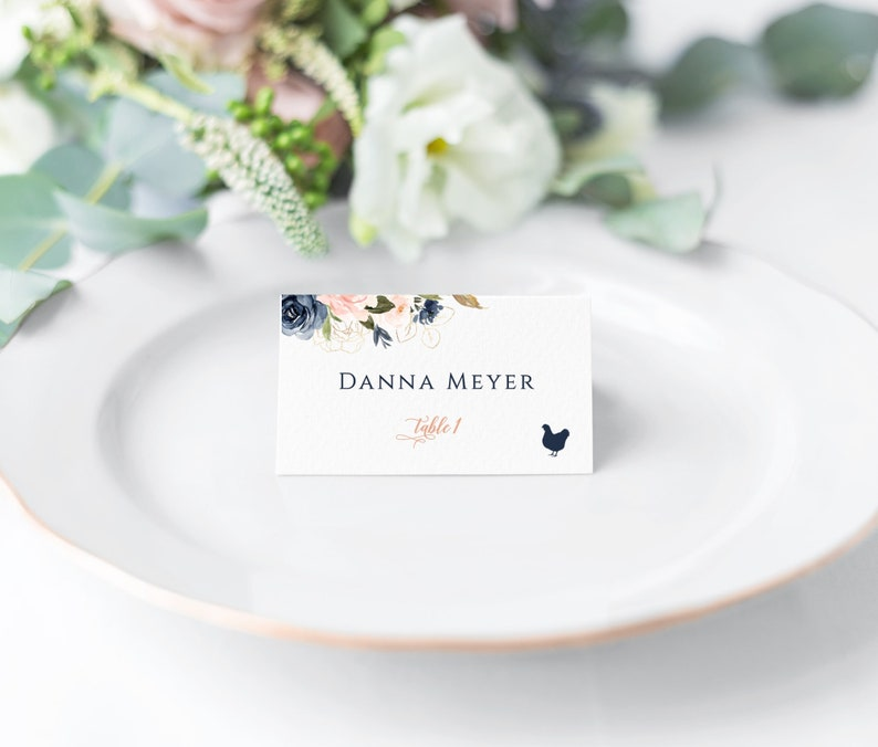 Printed wedding place cards wedding escort cards meal choice cards names card table cards  blush and navy floral place cards wedding table