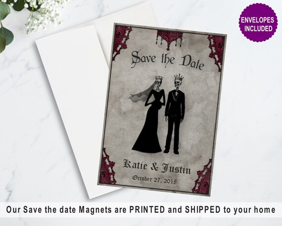 Gothic Save The Date Magnet With Envelopes Skeleton Love Save Etsy