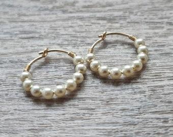 Small faux pearl 14K gold filled hoop earrings - Pearl hoop earrings UK - Gold filled hoops UK