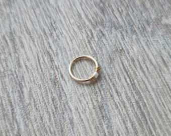 9ct Gold nose ring * Gold pale blue coloured beaded nose ring * Nose ring * Boho nose ring * Cute nose ring * Gold nose ring UK