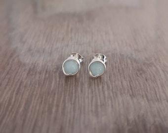 Aquamarine Sterling silver stud earrings * Aquamarine stud earrings * Silver stud earrings * Blue stud earrings * Gemstone stud earrings UK