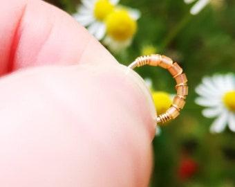 14K gold filled cartilage hoop - Beaded cartilage hoop earring - Cartilage hoop earring - Cartilage hoop earring UK