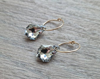 14K gold filled hoop earrings- Dangle hoop earrings - Statement hoop earrings - Sparkly hoop earrings UK - Hoops