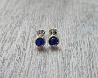 Kyanite Sterling silver stud earrings * Kyanite stud earrings * Silver stud earrings * Blue stud earrings * Gemstone stud earrings UK