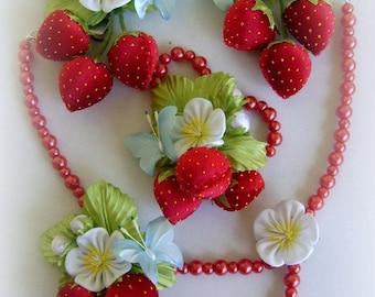 Red,blue. Headpiece,headband,bracelet,kids, girl,strawberries,butterflies gift