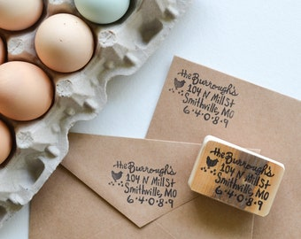Farm House Address Stamp- Chicken Address Stamp- Custom Address Stamp- Hand Carved Latex Free Rubber Stamp Mounted on Reclaimed Wood
