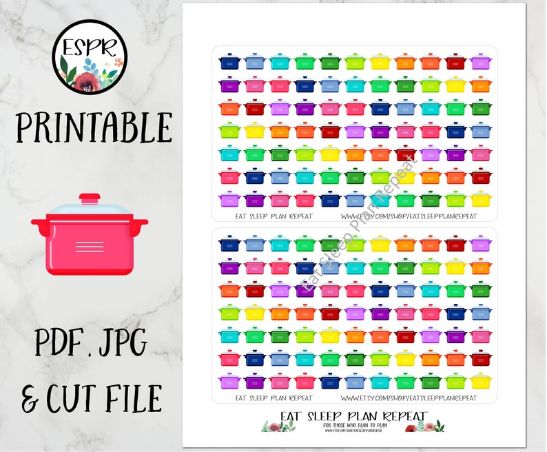 image regarding Free Printable Food Planner Stickers referred to as SALE! Printable Evening meal System Planner Stickers with Lower Record for Any Planner, Pleased Planner, Erin Condren, Cooking Pot, Supper Designing Useful
