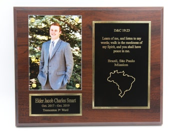 3 total LDS Missionary Plaque 8x10 Cherry Wood.