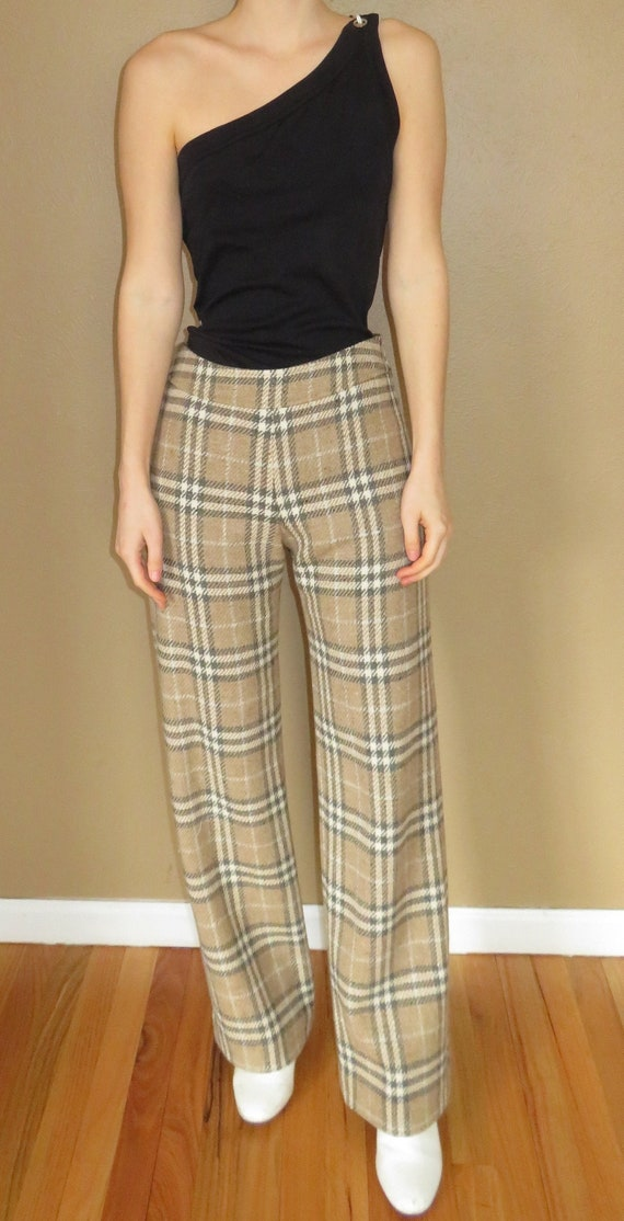 Vintage Burberry Check Wool Cigarette Trousers