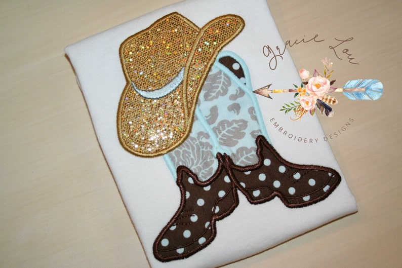 e0492eabaa0 Cowboy boots with hat embroidery design 4x4 and