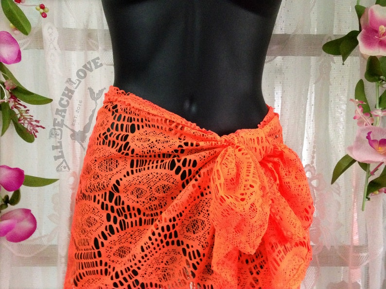 1a9c34a7ee Orange Skull Lace Sarong Pareo Beach Wrap Cover up | Etsy